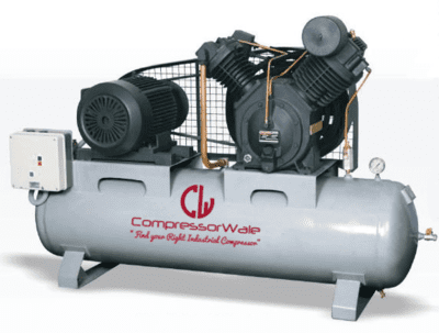 3HP Heavy Duty Two Stage Reciprocating Air Compressor mounted on 166 Liter Tank with 12.5 Bar Working Pressure